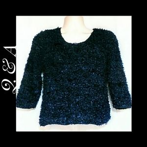 Q&A Fuzzy Knit Navy Sweater Size Medium